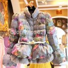 Newest Women Flower Printed Cotton Wadded Jacket Coat Winter Lantern Sleeve Rabbit Fur Patchwork Pri