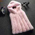 Top Luxurious Women Winter Vests Fashion Hood Jacket Sleeveless Warm Waistcoat Faux Fox Fur Vest Coa
