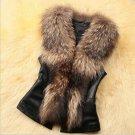 2017 Autumn Women Brown Plus Size Faux Fur Vest Winter Slim Fit Long Faux fur Coat Women Gilet  Rabb