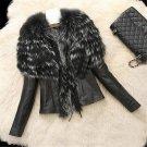 Women Winter Warm Casual Faux Fur Jackets Coat 2017 Fashion Patchwork Female Silm PU Leather Jackets