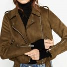 2018 Autumn Winter Women New Motorcycle Suede Faux Leather Jackets Lady Short Slim Zipper Belted Mat