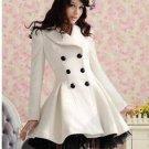 women\'s long wool winter coats white black pink colour patchwork black lace9removable) woollen coat