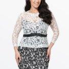 3/4 Sleeve Double-Layered Women\'s Plus Size Dress