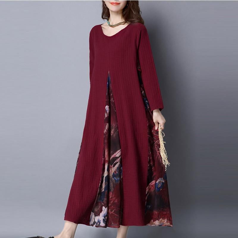 Vestidos 2017 Women Vintage Casual Loose Print Dress Ladies O Neck Long Sleeve Cotton Linen Splice M