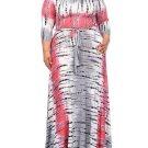 Color Block Plus Size Lace up Women\'s Maxi Dress