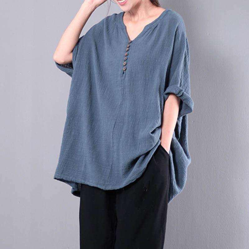 CELMIA 2018 Spring Women 3/4 Sleeve V Neck Buttons Pullover Shirt Autumn Leisure Cotton Linen Blouse