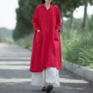 Oversize Cotton Women Long Maxi Dress Plus Size Long Sleeve Turndown Collar Vintage Button Long Loos