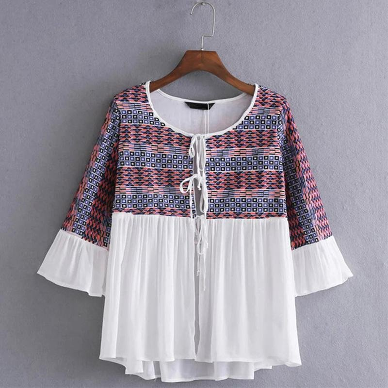 Hit Color Round Neck Embroidery Blouse Shirts Plus Size Three-Quarter Sleeve Pleated Women Tops Caus