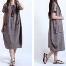 Plus Size 5XL  Vintage Style Cotton Linen Fold Women Long Loose Dress Vestidos Robe Elbise New Arriv
