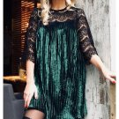 Diamond Velvet Dress Women Lace Sleeve Pleated Mini Dresses De Festa Female Spring Vestidos Plus Siz