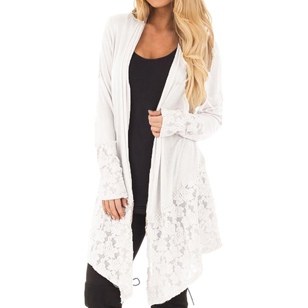 Women Fashion Lace Patchwork Long Sleeve Casual Pure Color Cardigan Coat