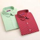 Dioufond Polka Dot Shirt Women Long Sleeve Blouse Cotton Plus Size Ladies Tops Turn-Down Collar Wome