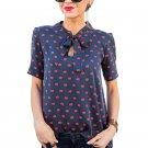 2017 Chiffon Blouse New Fashion Red Lips Printed Shirt Women Casual Lace up Short Sleeve Women Blous