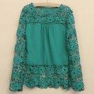 Plus Size 4XL 5XL 2015 new Spring Autumn  women long-sleeved chiffon blouse hollow flower Lace Blous