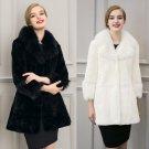 Ukraine Women long faux fur coat poncho fourrure Plus Size 2XL 3XL black Gothic basic coat fur colla