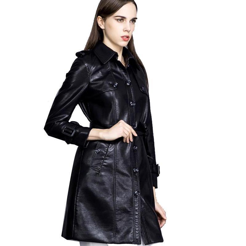 Leather Jacket Women Jaqueta De Couro Feminina Plus Size Trench Coat PU Leather Women\'s Long Korean