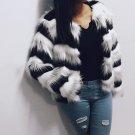 Winter Plus Size Fashion Tops Women Imitation Fur Coat Wave Pattern Patchwork Short Fur Coats Outwea