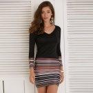 Ladies Womens Striped Maxi Boho Long Sleeve Dress Evening  Party Dress