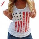 Women Blouses Women Summer Printing US Flag Blouse Short Sleeve Casual Tank Tops High Quality Shirt