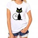 Women All-Match White T Shirt Girls Plus Size Cute Cat Print Tees Shirt Short Sleeve Cotton Female C