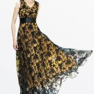 Floral See-Through V-Neck Women\'s Maxi Dress (Plus Size Available)