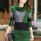 High Neck Long Sleeve Women\'s Sweater Dress