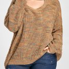 Plus Size Cut Out Neck Drop Shoulder Ripped Long Deed Yellow Oversized Sweater Casual Autumn Thick S