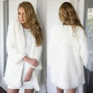White Hairy Cardigan Women Autumn Sweaters Luxury Designer Clothes 2017 Fashion Party Clothes Plus S
