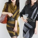 New fashion long-sleeve winter dress cashmere woolen sweater  one-piece dress Plus Size sweater dres