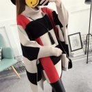 New Winter Poncho Femme Plus Size Long Striped Contrast Color Sweater Female Batwing Sleeves Turtlen