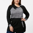 2017 Nextmia Fashion Plus Size Pullover Pockets Cable Knit Long Black Oversize Thick Autumn Sweater