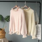 Winter Pink Soft Faux Mink Cashmere Hairy Fungus Collar Patchwork Knit Sweater Warm Oversized Female