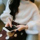 Women\'s Elegant Half Turtleneck Hairy Crocheted Winter Long Lantern Sleeve Sweater Pure Color Femal