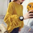 Winter Warm Character Hairy Tassel Splicing Lantern Sleeve Knitted Oversized Yellow Sweater Female w