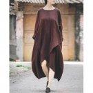 Spring Autumn Dress Brand Vintage Style Loose Long-sleeve Irregular Linen Dress Casual Long Robe Ves