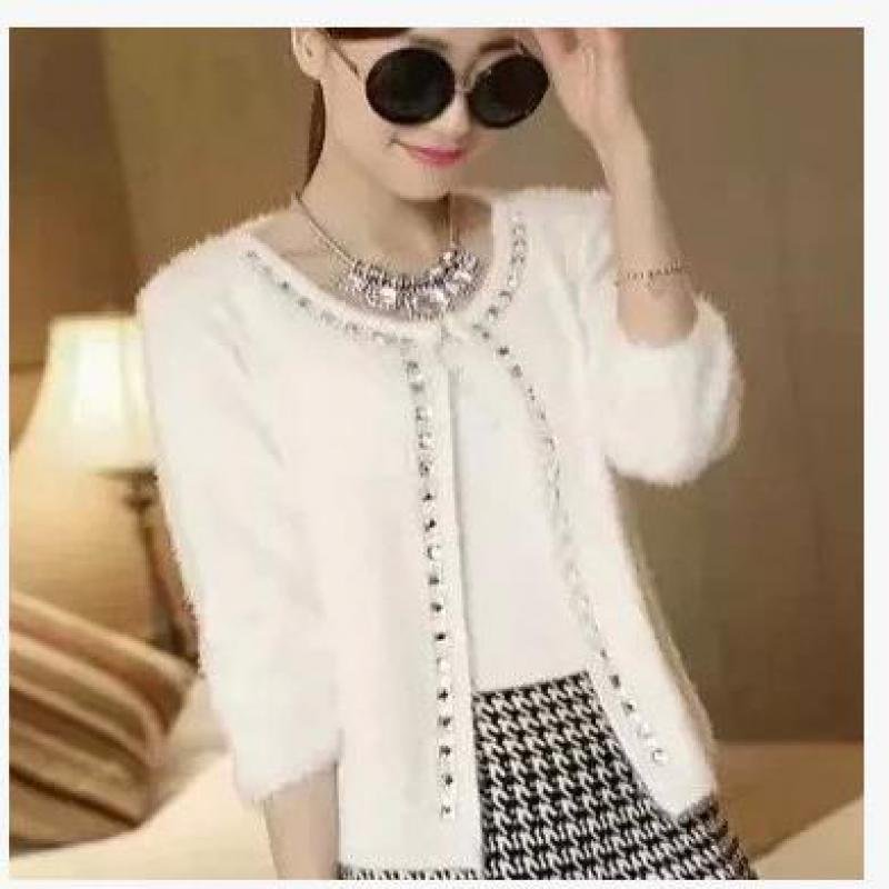 autumn winter women fashion casual cardigans beading round collar bleading thick mohair knitted swea