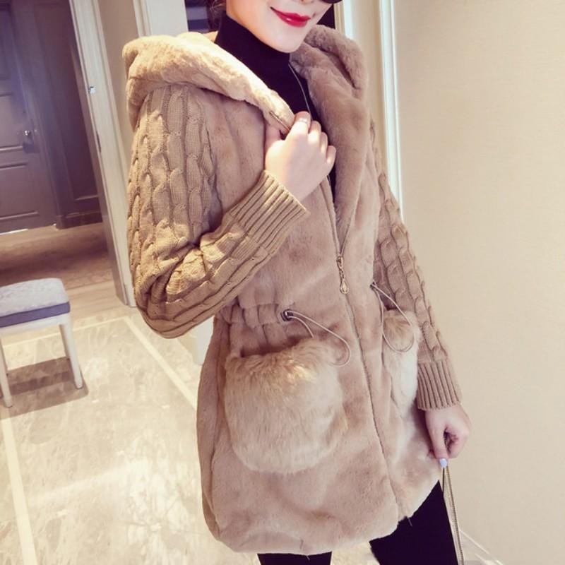 Hot! 2017 Winter Women\'s Hooded Coat Zipper Fashion Faux Wool Female Soft Outwear Long Sleeve Jacke
