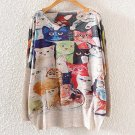 New Winter Vintage Fashion Women Long Batwing Sleeve Knitted Cat Family Print Sweater Coat Jumper Pu