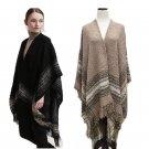 New Women\'s Winter Poncho Cape Coat Vintage Blanket Womens Tassel Shawl Cardigan Woolen Scarf Overw