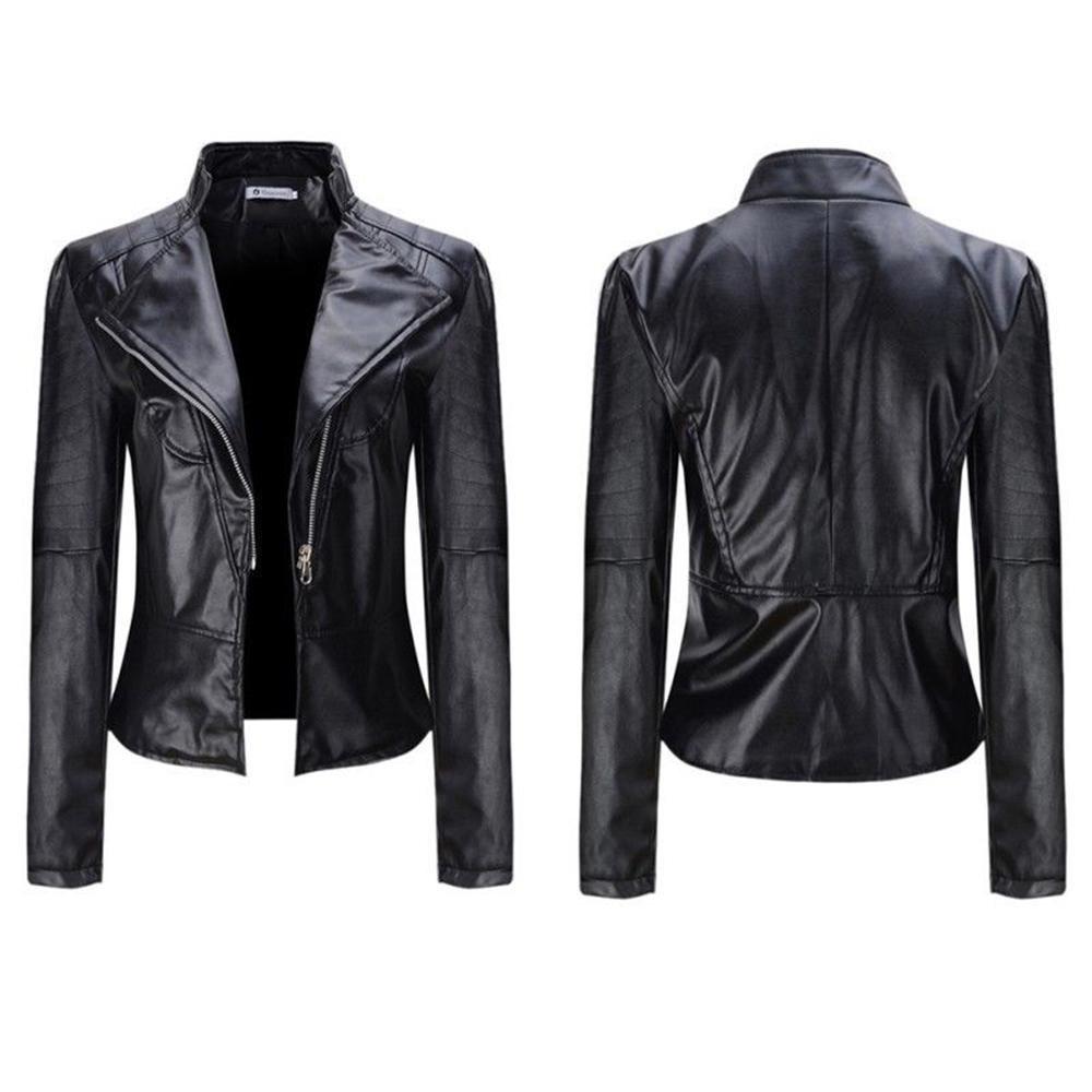 2017 New Elegant Autumn Winter Leather Jacket Women\'s Short Black PU Leather Coat Ladies Slim Motor