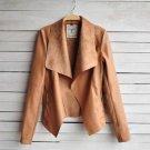 Coats Streetwear No Top Zippers Full Solid Turn-down Collar Open Stitch Slim 2017 Winter Women\'s La