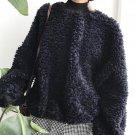 Free shipping women fashion fluffy coat stand collar long sleeve loose cute sweatshirt pullover lamb