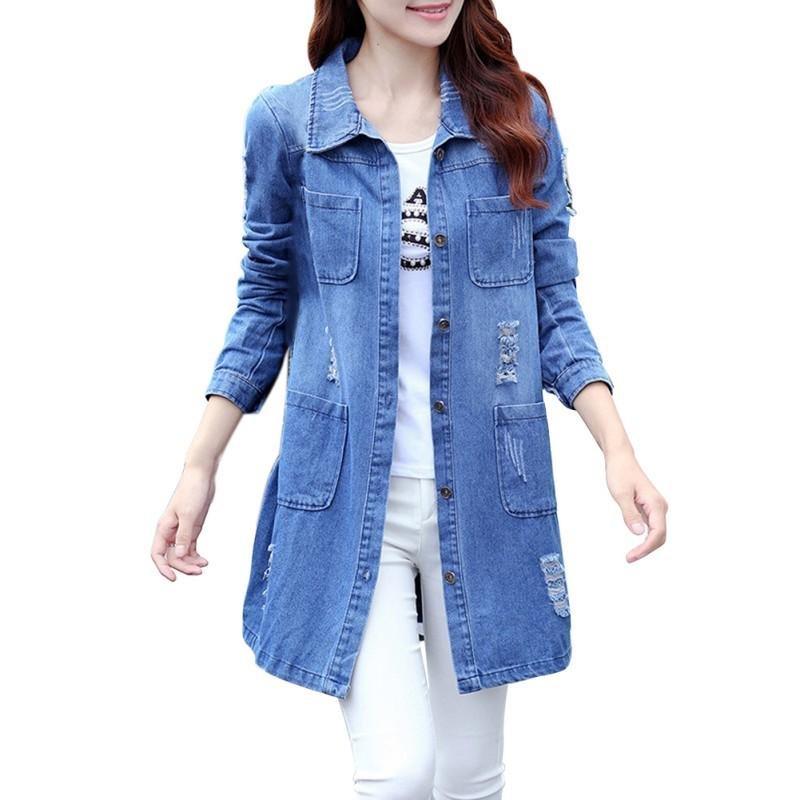 2017 Winter Coat Women Fashion Loose Cotton Denim Coat Long Sleeve Jeans Coat Women Tops Casual Wint
