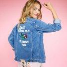 2017 spring Autumn Floral Bomber Jacket Women Embroidered Blue Jean Jackets Female plus size 5XL sli