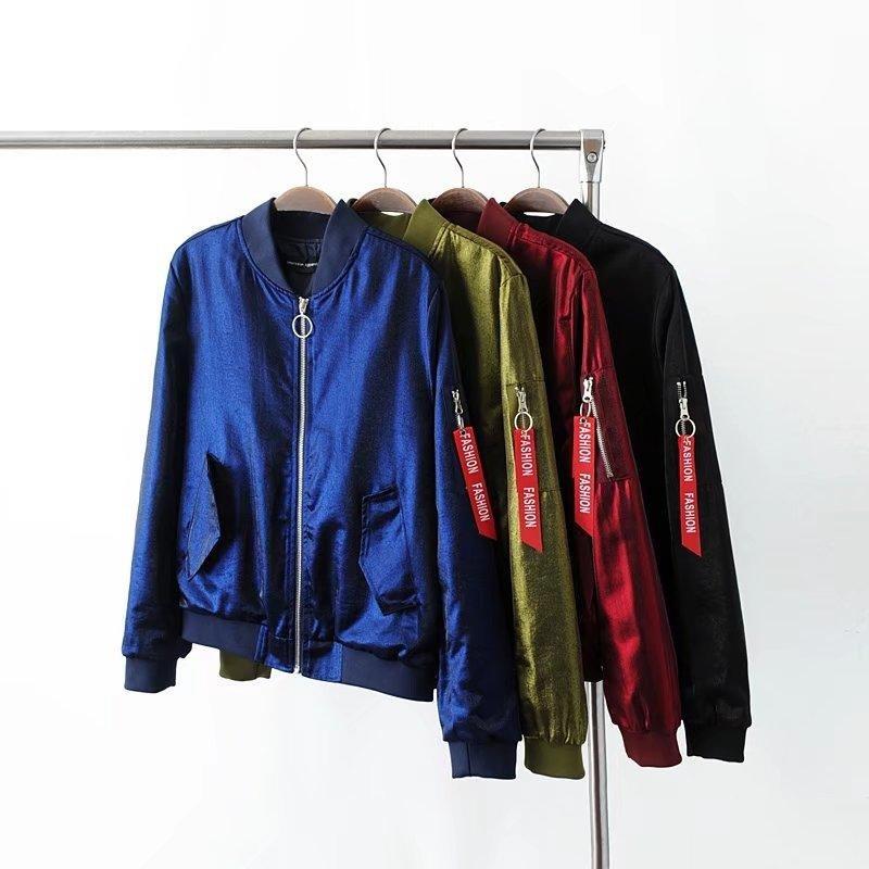 2018 New Fashion Women Casual Flight Bomber Jackets Lady Long Sleeve Satin Baseball Coats Army Green