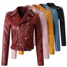 2018 New Fashion Women Autunm Winter Wine Red Faux Leather Jackets Lady Bomber Motorcycle Cool Outer