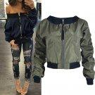 2017 Fashion Womens Autumn Long Sleeve Zipper Pockets Casual Loose Basic Biker Coat Bomber Jacket Sh