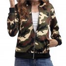 Women Army Green Long Sleeve Zipper Bomber Autumn Camouflage Print Pockets Slim Fit Coat Outerwear C
