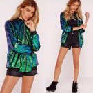 2017 Autumn Streetwear Mermaid Sequin Bomber Jacket Green Gradient Clolor Zipper Paillette Beading P