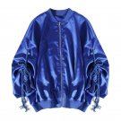 Cakucool Women Loose Bomber Jacket Metallic Blue Long Sleeve Baseball Jacket Fashion Pleated Sleeve